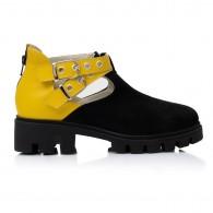 Pantofi Piele Negru/GalbenTalpa Bocanc Aida V15   - orice culoare