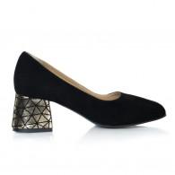 Pantof Piele Negru Toc Mic Evazat T32- orice culoare