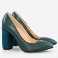 Pantofi Verde Petrol/Toc Model varf ascutit cu toc gros D17 - orice culoare