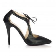 Pantofi Stiletto Piele Negru Retro L15 - orice culoare