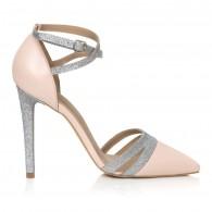 Pantofi Stiletto Nude/Argintiu  Elegance L8- pe stoc