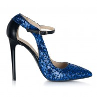Pantofi Stiletto Piele Albastru Imprimeu S15 - orice culoare