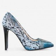 Pantofi Stiletto Piele Imprimeu Sarpe Maro/Albastru D40 - Orice Culoare