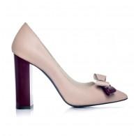 Pantofi Stiletto Toc Gros Nude/Bordo S1 - orice culoare