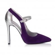 Pantofi Stiletto Piele Argintiu/Negru S15 - orice culoare