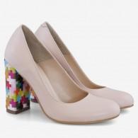 Pantofi Dama Piele Crem/Multicolor Fabiola D12 - Orice Culoare