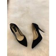 Pantofi Stiletto Piele Intoarsa negru  Negru S11 - pe stoc