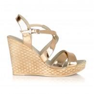 Sandale cu platforma piele auriu V10 - orice culoare