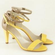 Sandale Dama Piele Galben Bareta Dubla D11 - orice culoare