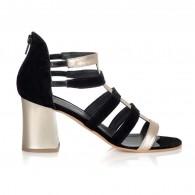 Sandale Piele Auriu/Negru Larson V12 - orice culoare