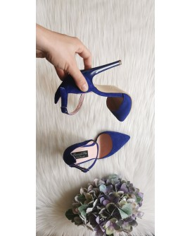 Pantofi Stiletto  velur Albastru Clara C14 - pe stoc