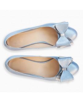 Balerini piele naturala Bleu Funda Tripla - orice culoare
