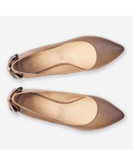 Balerini piele bronz varf ascutit D12 - orice culoare