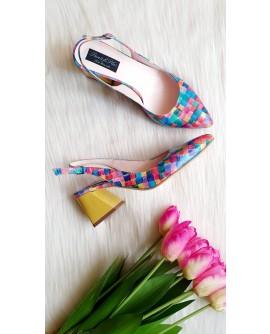 Pantofi Comod Piele Floral Albastru C54 - orice culoare