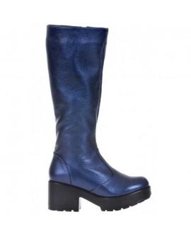 Cizme Piele Bizonata negru/Albastru Metalizat S8 - orice culoare