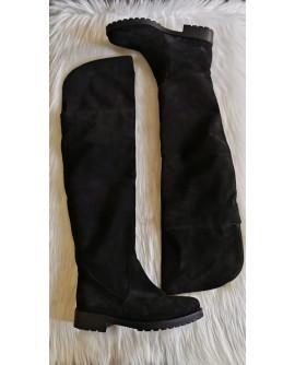 Cizme peste genunchi piele intoarsa negru  C2 -pe stoc