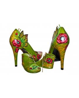 Pantofi piele naturala verde set mama - fiica M3 - orice culoare