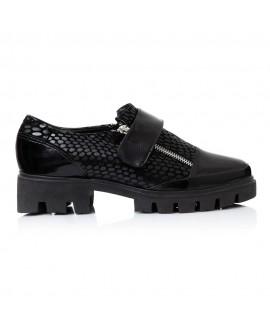 Pantofi Piele Crococ Negru Talpa Bocanc V12   - orice culoare