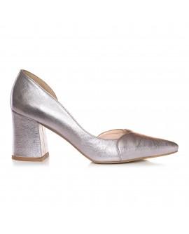 Pantofi Piele Argintiu Stylish Comod  E9 - orice culoare