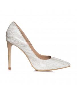 Pantofi Stiletto Piele Alb/Bej L9 - orice culoare