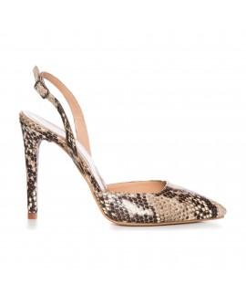 Pantofi Stiletto Piele Imprimeu Sarpe Decupat L6 - Orice Culoare