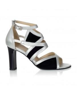 Sandale Piele Argintiu/Negru Amelie V11 - orice culoare