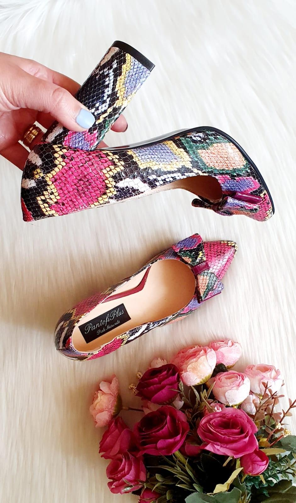 Pantofi Stiletto Piele Imprimeu Sarpe Color T40  - orice culoare