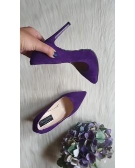 Pantofi Stiletto piele intoarsa mov    Very Chic -pe stoc