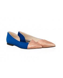 Balerini piele albastru/bronz Candy N15 - orice culoare