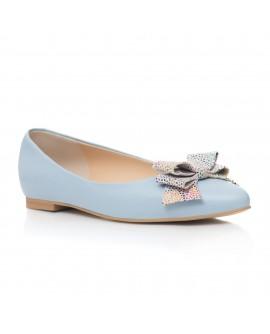 Balerini Piele Bleu Fundita Color C1 - orice culoare