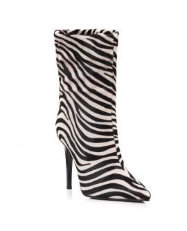 Botine Piele Ponei Imprimeu Zebra L4- Orice Culoare