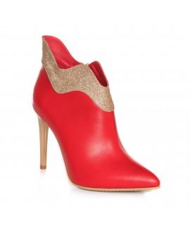 Botine Stiletto Piele Rosu/Auriu Glam L15  - Orice Culoare