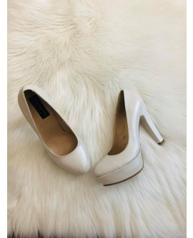 Pantofi Clara Alb   Piele Lacuita- pe stoc