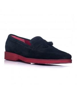 Pantofi barbati mocasini piele intoarsa negru - pe stoc