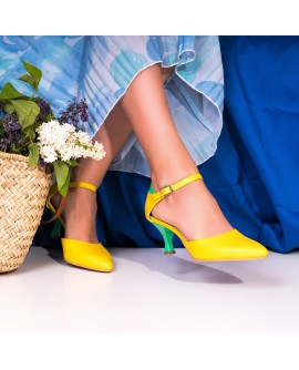 Pantofi Piele Galben/Verde Sweety C60-  orice culoare
