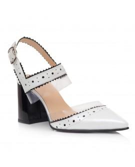 Pantofi Piele Alb/Negru Decupat Clarice C59 - orice culoare