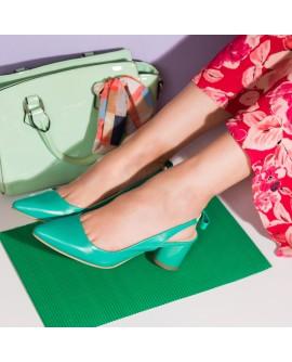 Pantofi Decupati Piele Verde Toc Rotund C56  - orice culoare
