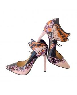 Pantofi Pictati Manual Butterfly Negru/Nude - orice culoare