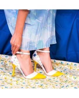 Pantofi Piele Galben Chic Floral C45- orice culoare