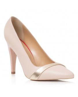 Pantofi Stiletto Piele Nude/Auriu Iasmin T40  - orice culoare