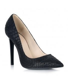 Pantofi Stiletto Piele Sarpe Negru S11 - orice culoare