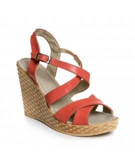 Sandale cu platforma piele corai  V10 - orice culoare