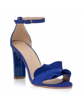 Sandale Piele Albastru Anais Toc Gros C16  - orice culoare