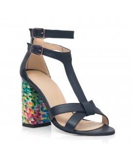 Sandale Piele Negru/Multicolor Lolly Pop C11 - orice culoare