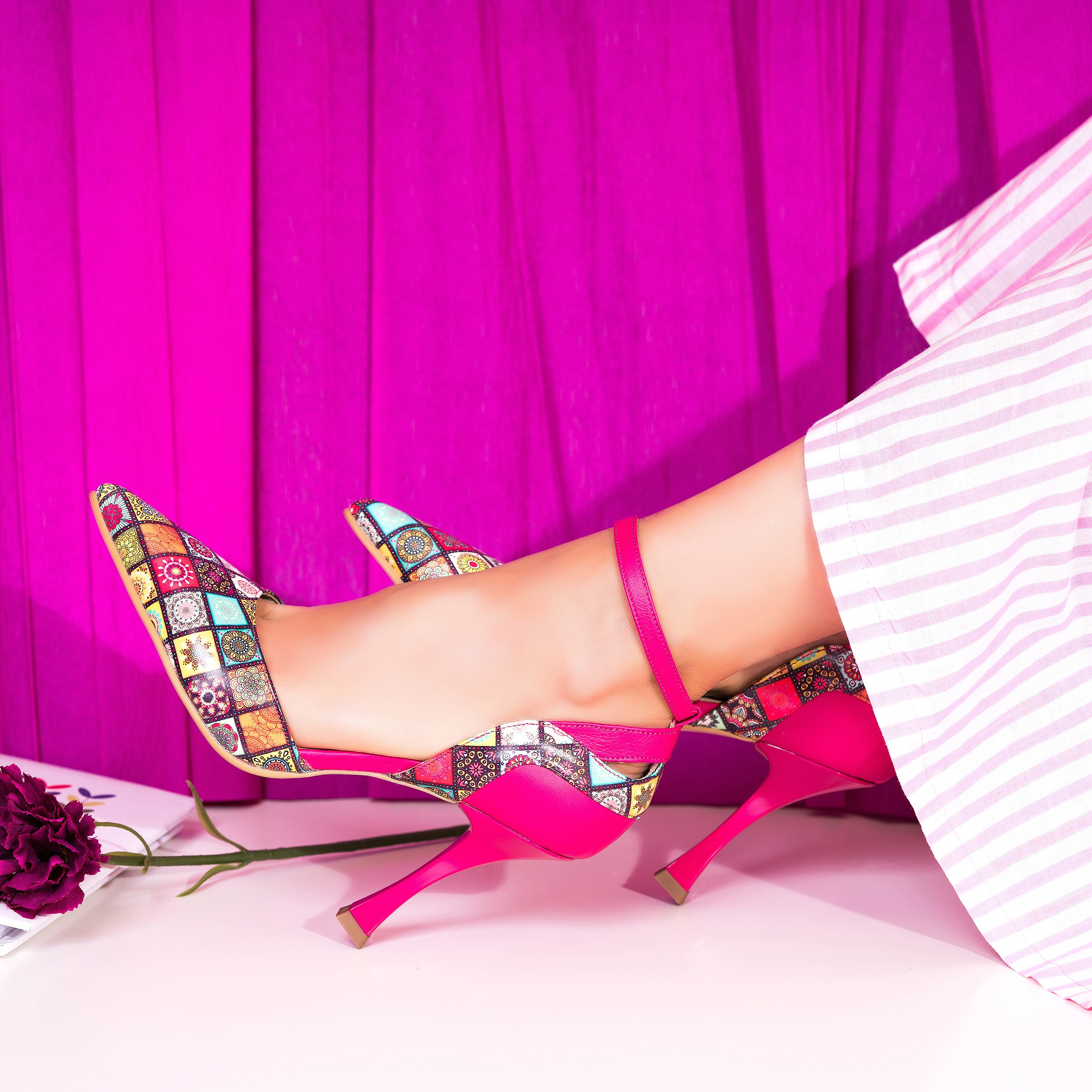 Pantofi Piele Ciclam Imprimeu Color C47- orice culoare