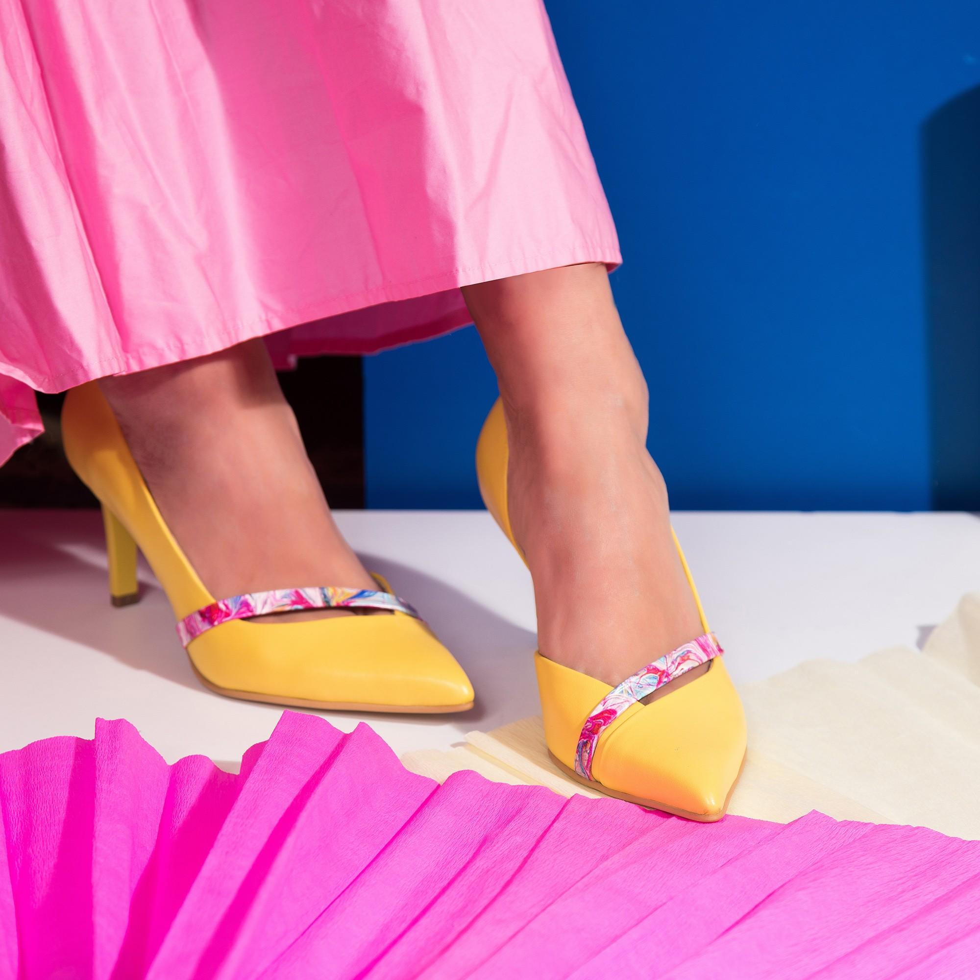 Pantofi Stiletto Piele Galben Alda C52 - orice culoare