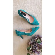 Pantofi Stiletto Piele  intoarsa Perforata C38 - pe stoc