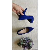 Pantofi Stiletto  Piele velur albastru electric C8  - pe stoc