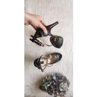 Sandale Piele cu Toc Cui  si platou  lac grena si piele cu imprimeu  - pe stoc