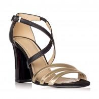 Sandale piele auriu/negru Elisa V8 - orice culoare